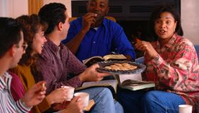 Friends Eating Cookies at a Home Bible Study
